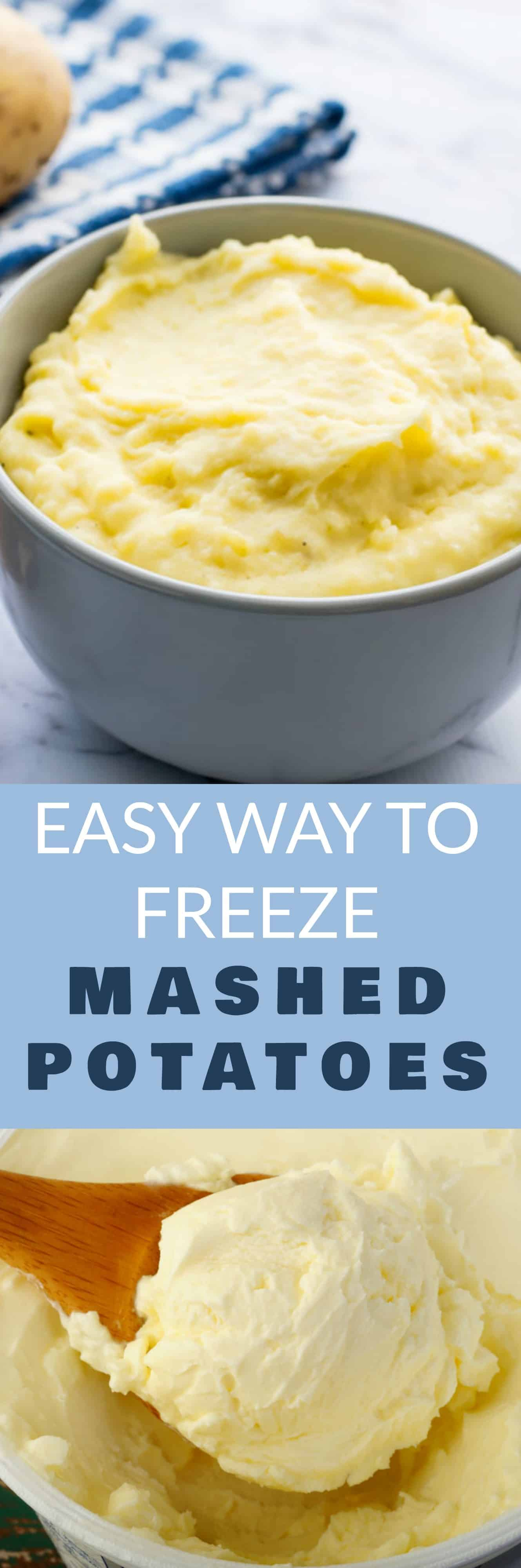 EASY way to FREEZE Mashed Potatoes! Follow these step by step instructions on how to freeze leftover mashed potatoes and get the magic trick to make them taste great! Never throw away leftover Thanksgiving or holiday potatoes again! I always freeze mashed potatoes to serve for quick weeknight dinners!