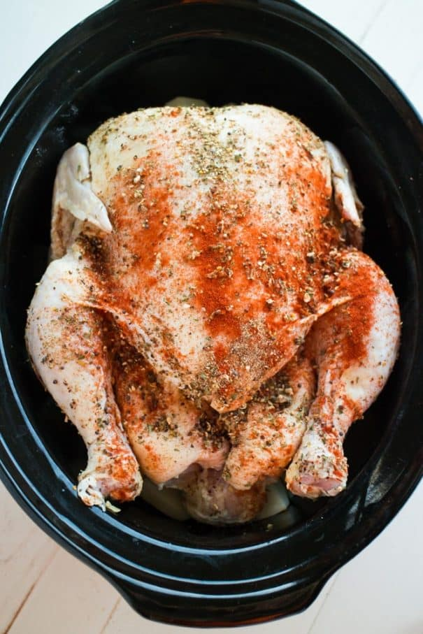 4 HOUR JUICY Slow Cooker Meal for a 6 Pound Whole Chicken! This easy recipe makes the entire meal in the crock pot, including potatoes and other vegetables! You'll love how simple it is to cook a HEALTHY Rotisserie Chicken meal! This is one of my favorite crockpot dinners!