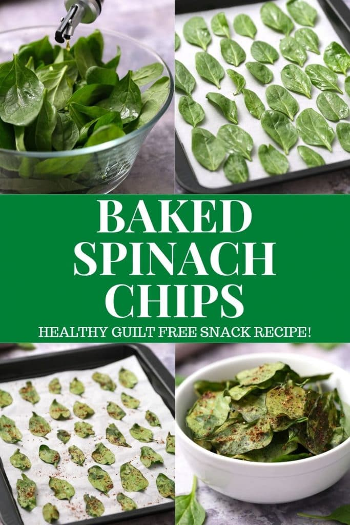 Healthy Baked Spinach Chips recipe is easy to make, ready in 10 minutes!  Spinach is filled with nutritional benefits so these are a healthy alternative to potato chips.  If you love kale chips you're going to love spinach chips!