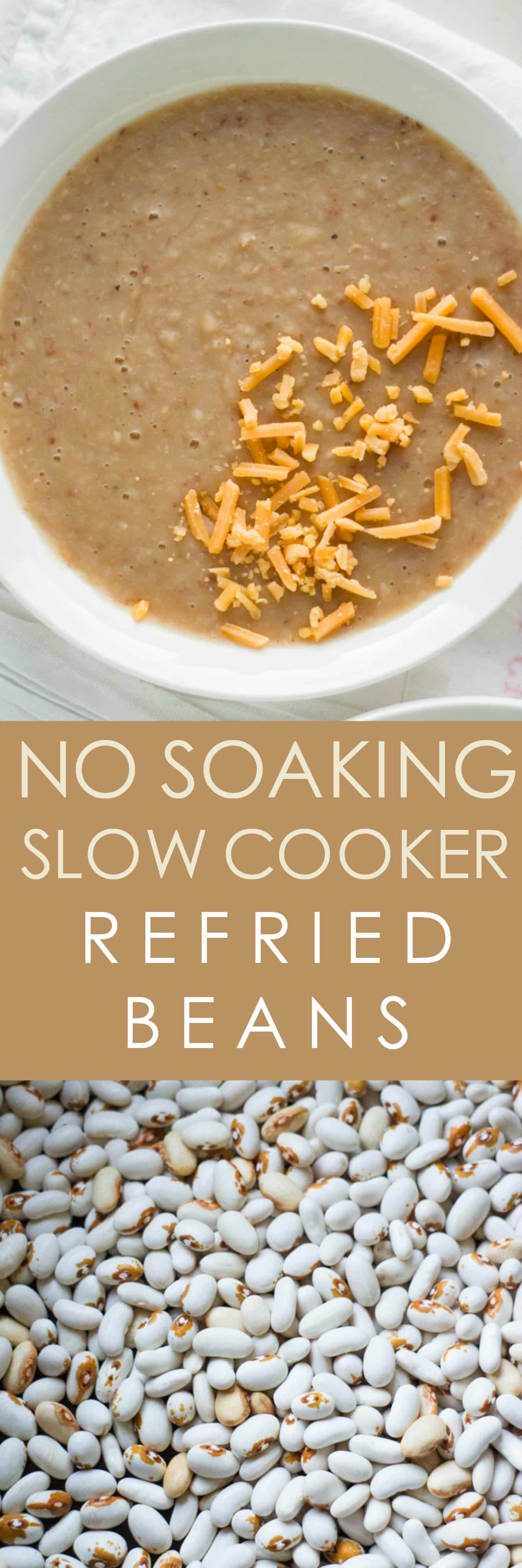DELICIOUS, NO SOAKING REQUIRED, Slow Cooker Refried Beans! This easy homemade refried beans recipe cooks dry pinto beans in the slow cooker! They make the perfect tasty side dish for authentic Mexican meals. You'll never use canned beans again!