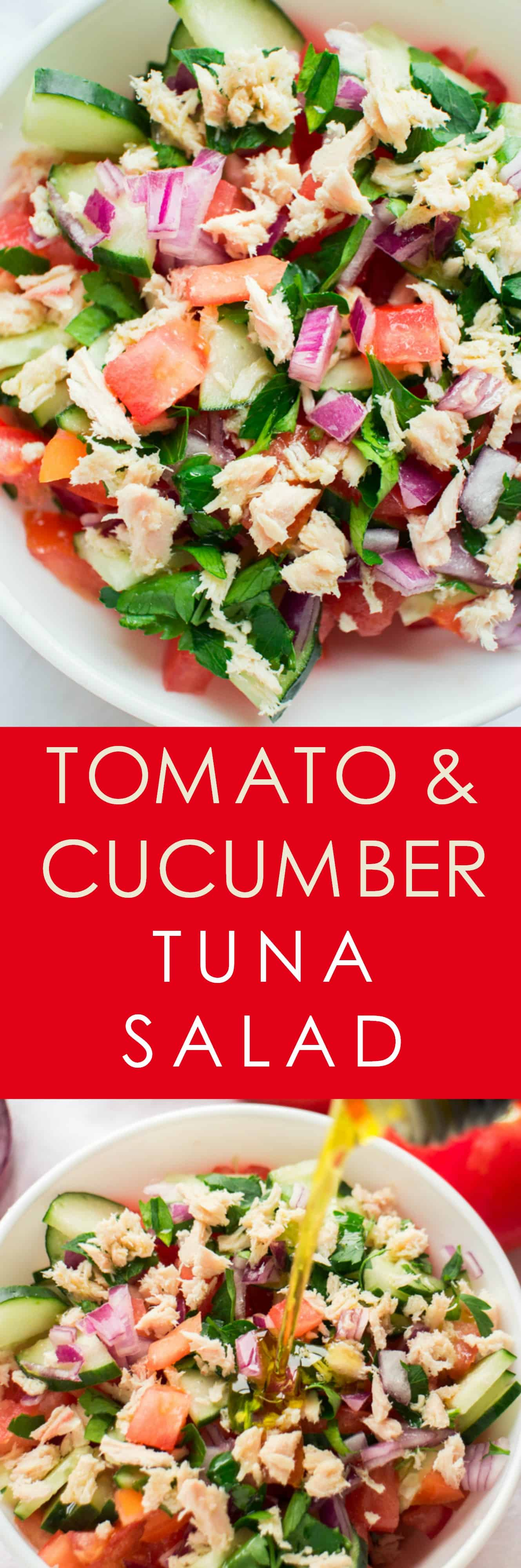 HEALTHY Tuna Cucumber Tomato Salad with olive oil dressing! This super easy salad recipe is only 140 calories a serving! I love using fresh tomatoes, cucumber and onions from the garden! It's completely dairy free too!
