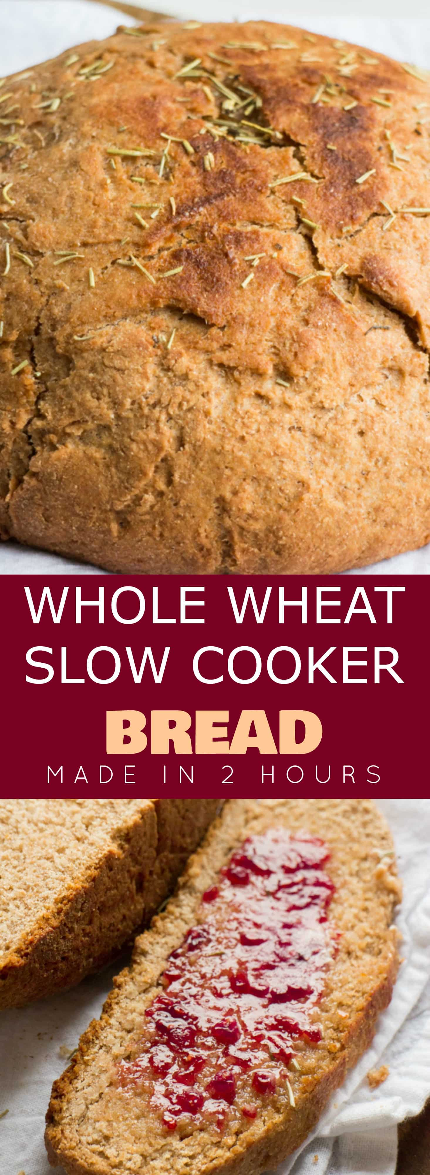 Homemade Whole Wheat SLOW COOKER Bread recipe that's so easy to make! This simple recipe is made in the crock pot and uses honey instead of sugar. This bread is healthy and great for clean eating! Use it for sandwiches or for breakfast, I love mine with a little butter and jam!