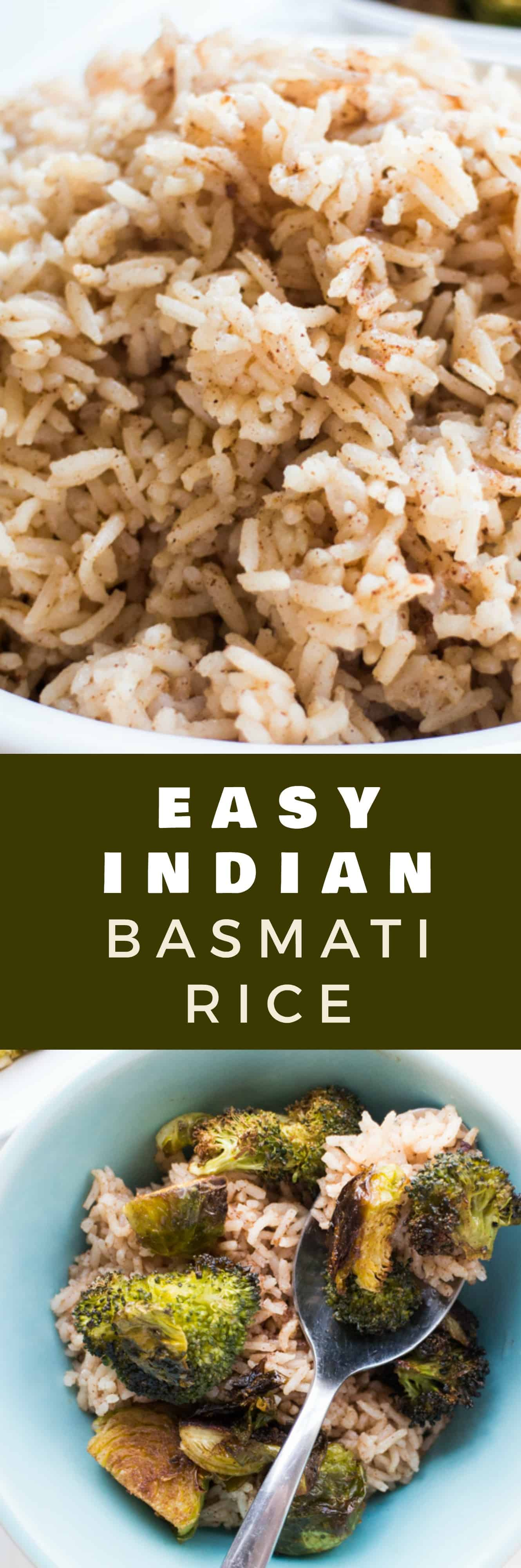 Learn how to cook PERFECT Basmati Indian Rice in under 30 minutes! This easy recipe uses basmati rice and fragrant spices to create authentic tasting Indian rice. Pair it with roasted vegetables to make a healthy, vegan meal for dinner!