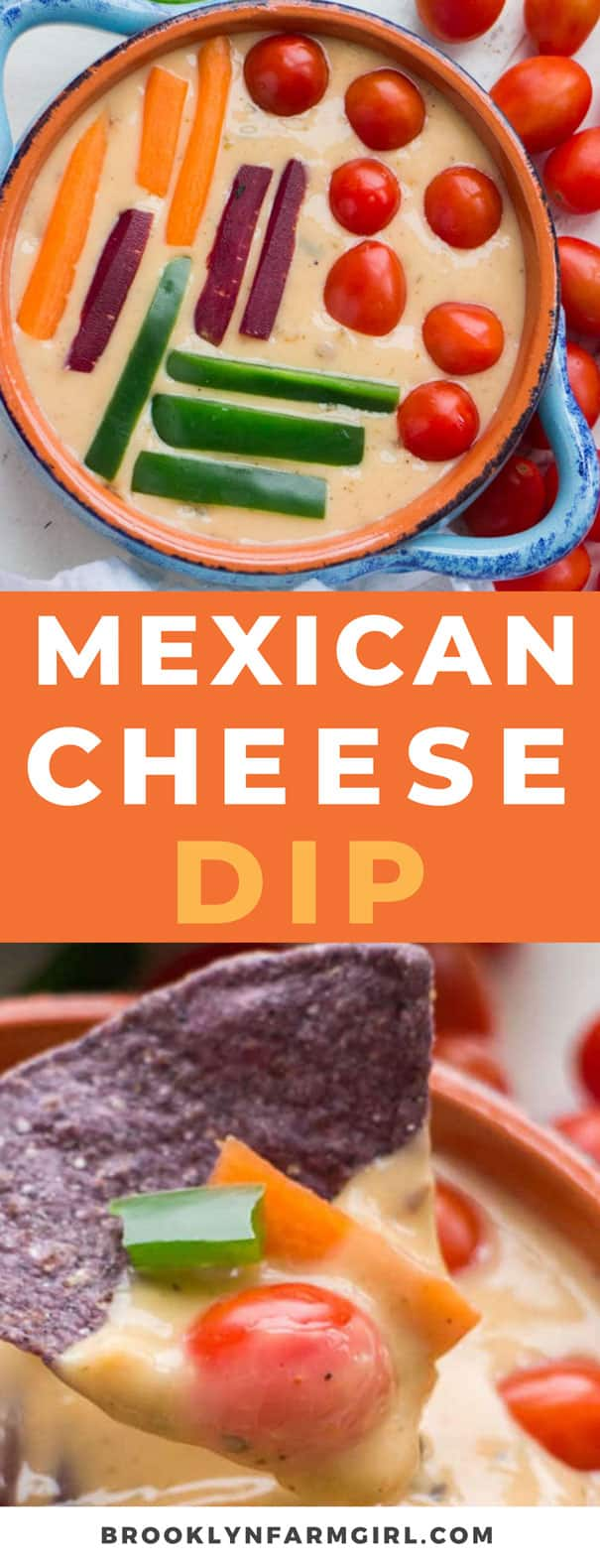 This Mexican cheese dip is a creamy and zesty blend of Monterey Jack cheese and seasonings, all melted to gooey perfection. This easy homemade cheese dip has just a handful of ingredients and can be whipped up super quick. Cover the top with chopped up vegetables for the perfect addition to any party menu!