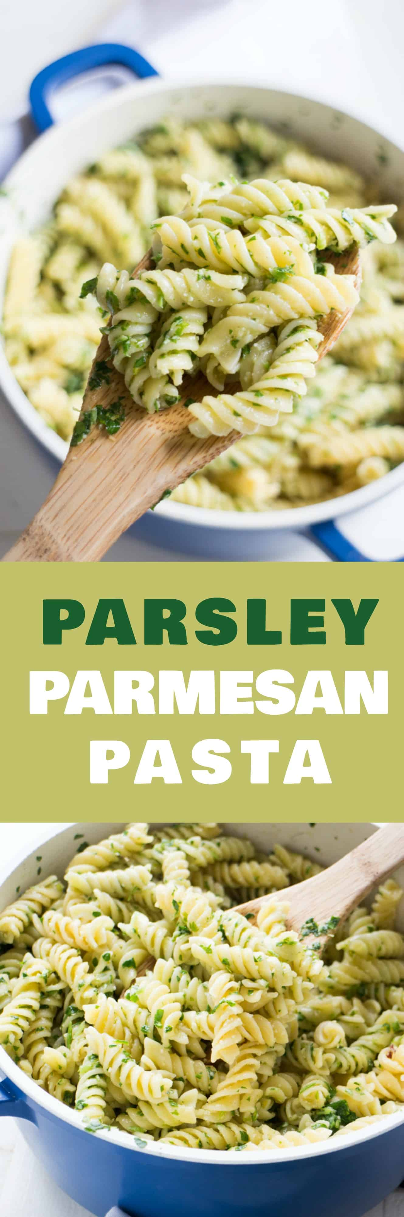 PARSLEY PARMESAN PASTA takes 15 minutes to make! This healthy meal using fresh parsley costs less than $4! Blend the parsley with other simple ingredients to make a nut free pesto sauce and then pour on top of pasta! It's delicious and easy to make!