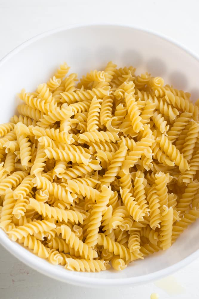 bowl of rotini noodles