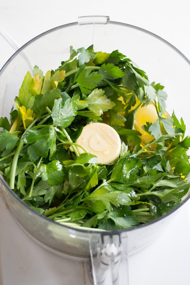 parsley pesto in food processor