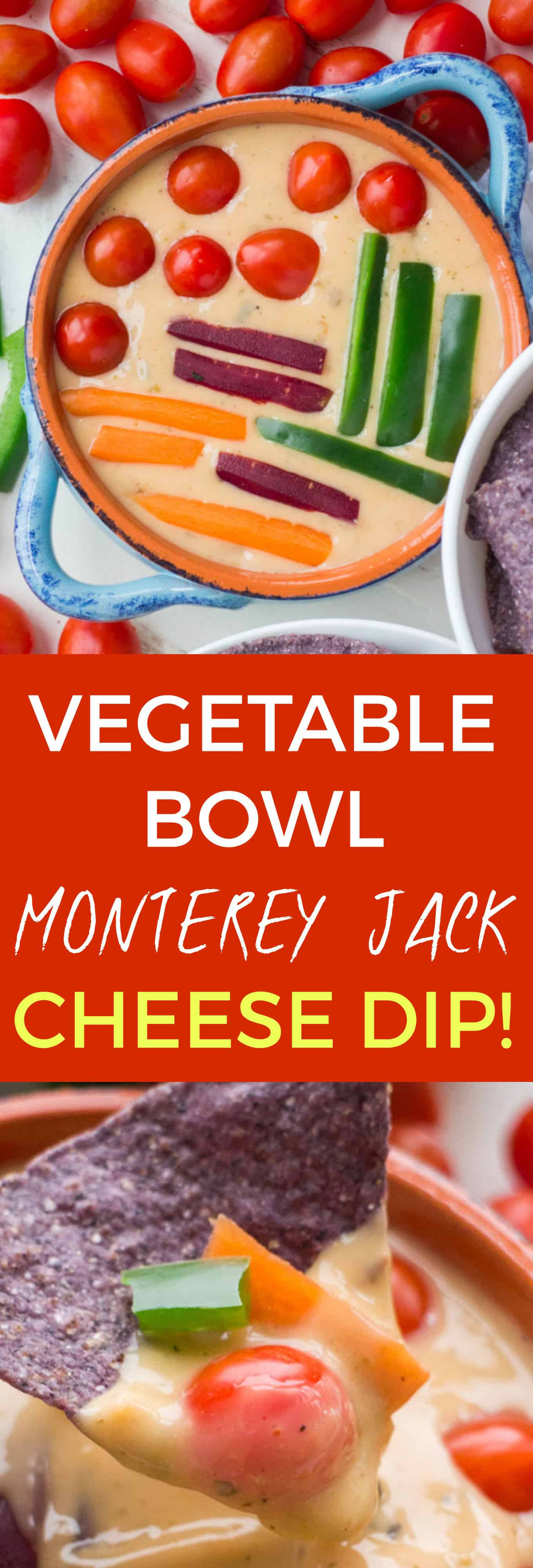 PRETTIEST Cheese Dip ever! MEXICAN Vegetable Bowl MONTEREY JACK Cheese Dip! This easy dip recipe is made with grated Monterey Jack cheese and Mexican spices! Cover the top with chopped up vegetables to make the most beautiful homemade dip!