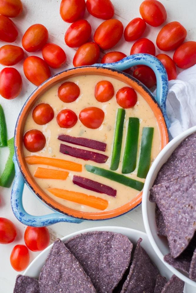 Sliced Vegetables in Cheese Dip