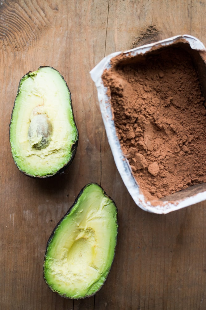 avocado and cocoa powder