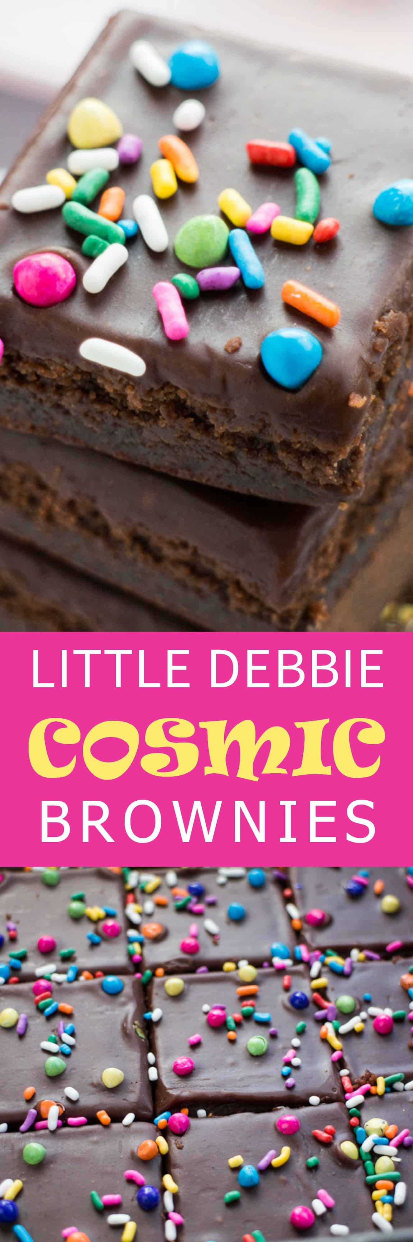 HOMEMADE Copycat Little Debbie Cosmic Brownies - just like you remember as a kid! Each brownie is 150 calories! This easy to make recipe includes a rich chocolate fudge frosting and rainbow sprinkles on top! Make this brownie dessert to share with your family! They make the best birthday brownies too!