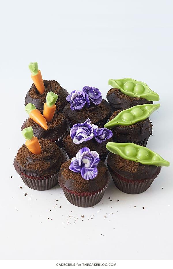 Pea and Carrot Garden Cupcakes