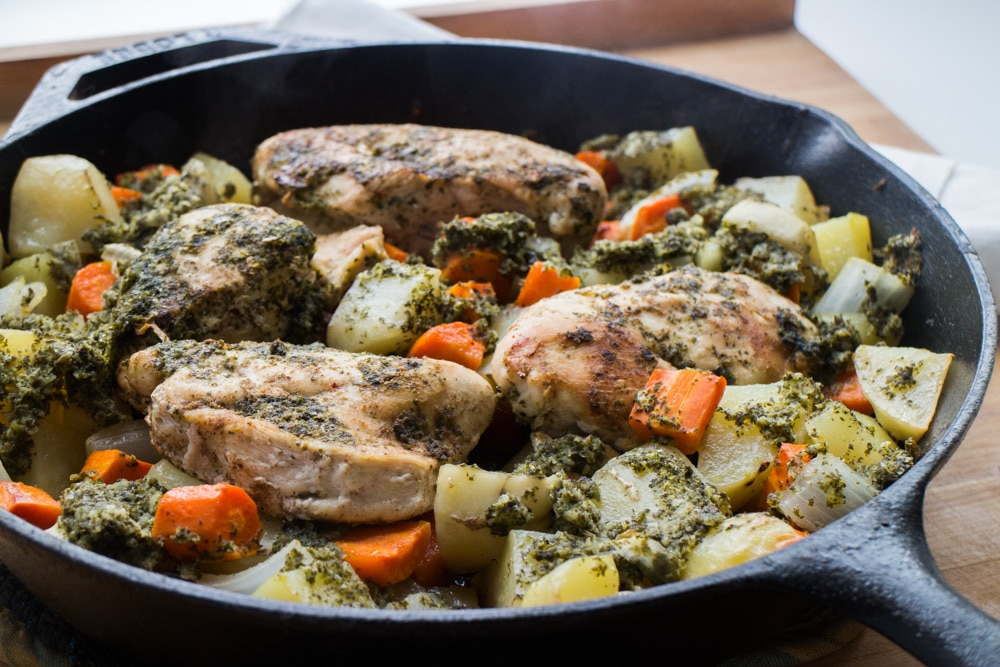 Cast Iron Chicken With Mint Chutney