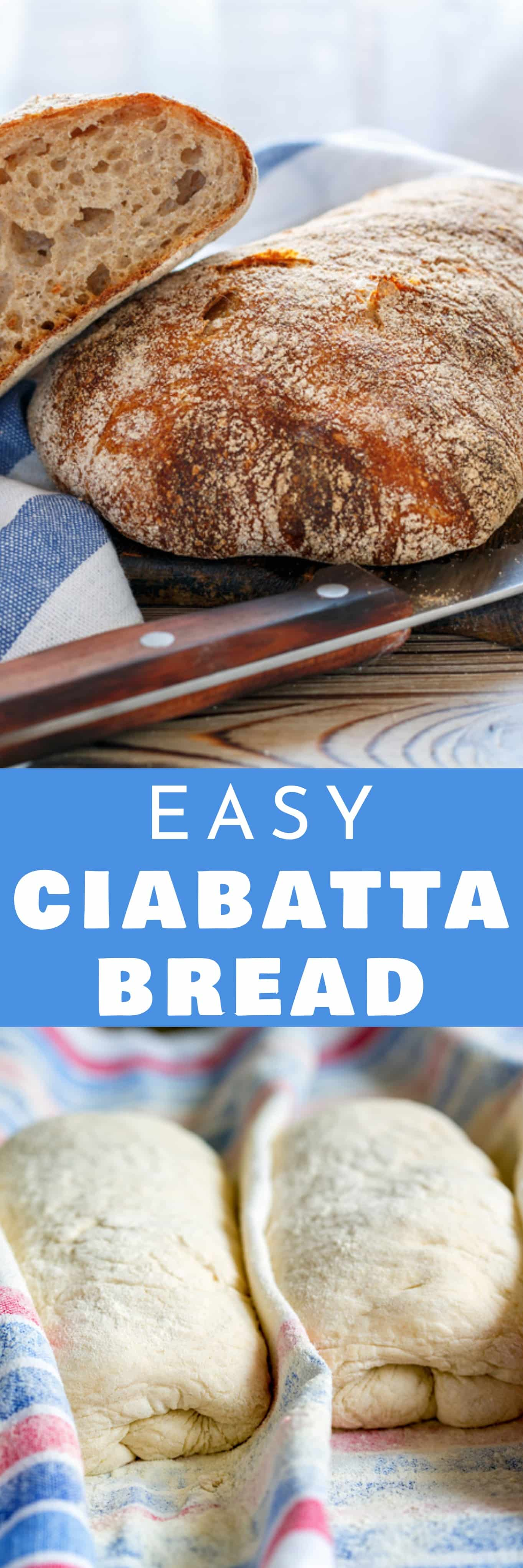 Ciabatta bread recipe! This homemade bread is crusty and filled with holes! It's easy to make in the bread machine. Serve it for sandwich, soup or a dinner side dish!