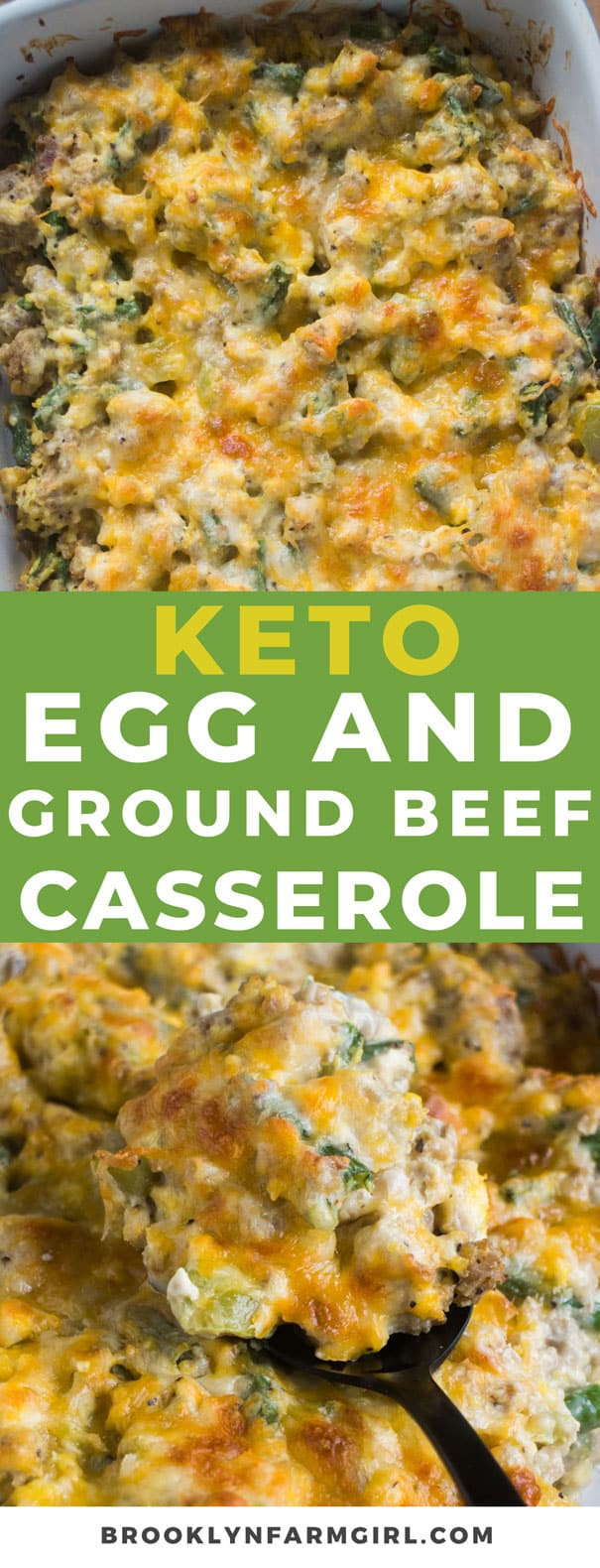 KETO Scrambled Egg Ground Beef Casserole recipe that's easy to make! This baked ground beef casserole is low carb and you can make ahead overnight if you'd like! It's packed with vegetables and sprinkled with cheddar cheese!