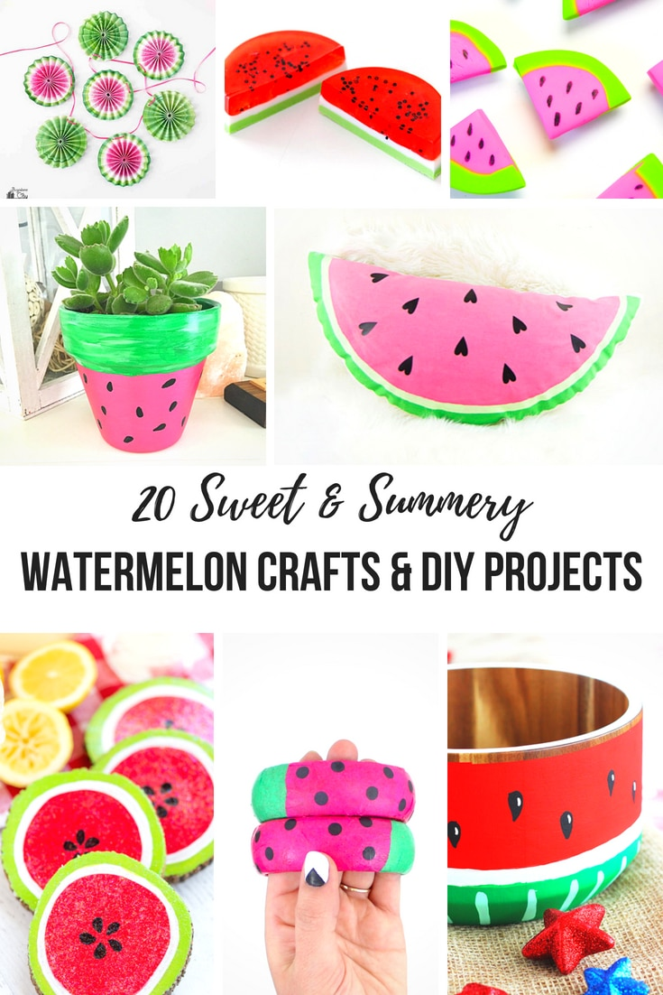 20 Sweet and Summery Watermelon Crafts & DIY Projects for kids of all ages! You're going to love making these creative projects with preschoolers, toddlers and teens! Ideas include everything from magnets, pillows, pinatas, painted bowls, planters, easy paper plate crafts and more!