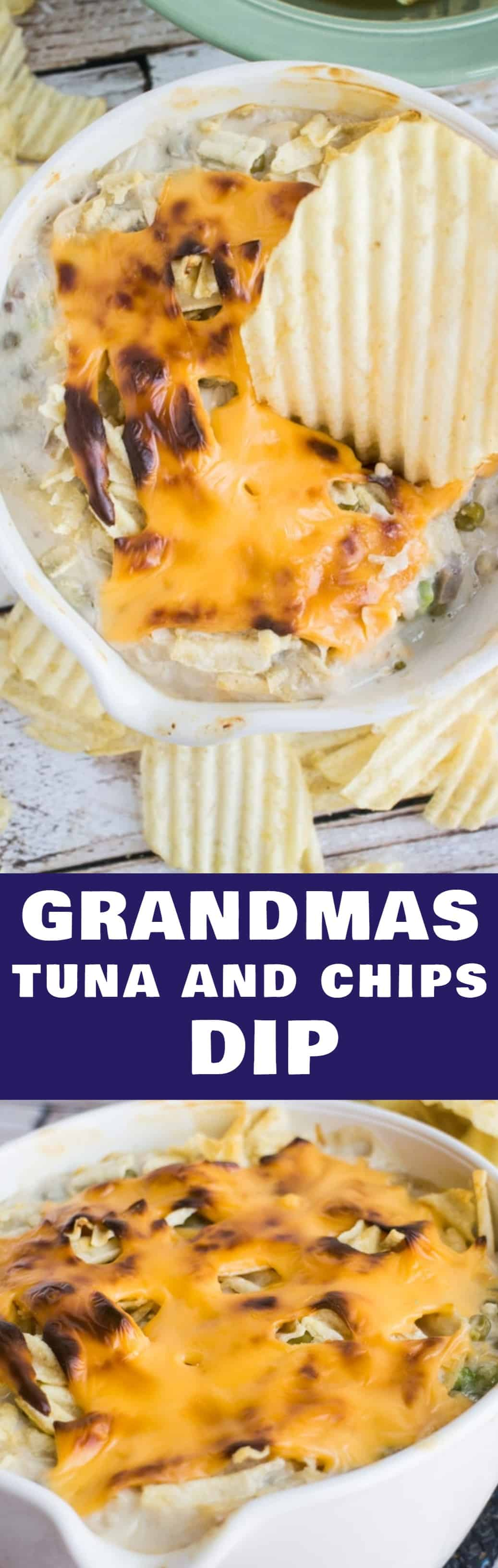 Grandmas Tuna and Chips Dip recipe, just like Grandma used to make it! This creamy tuna dip is made with Cream of Mushroom Soup and American cheese slices with crushed up potato chips on top! This is a classic Midwestern family recipe!
