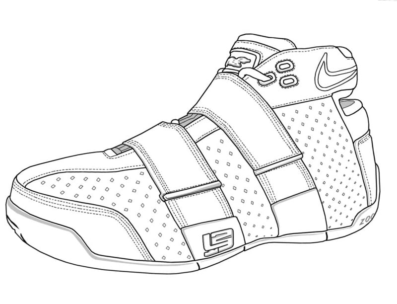 e780ac19d5b Lebron James Sneaker Coloring Page - Download it here!