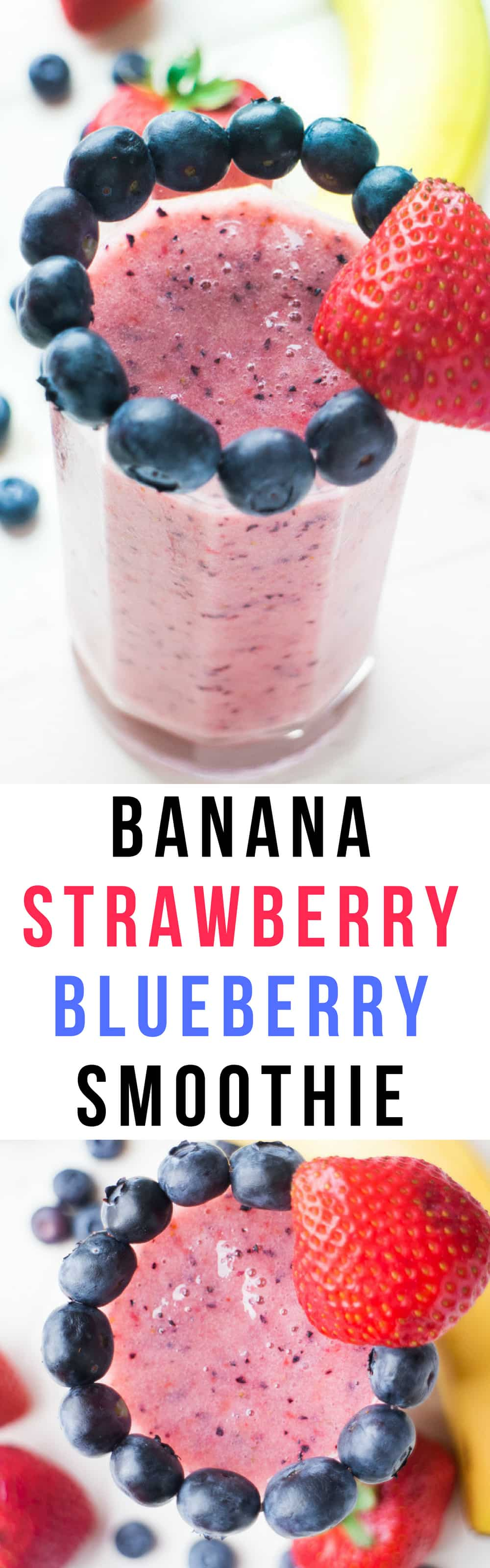 HEALTHY, Dairy Free Banana Strawberry Blueberry Smoothie! This easy recipe uses fresh fruit to make a smoothie for breakfast, for kids and for weight loss! It's dairy free and vegan.
