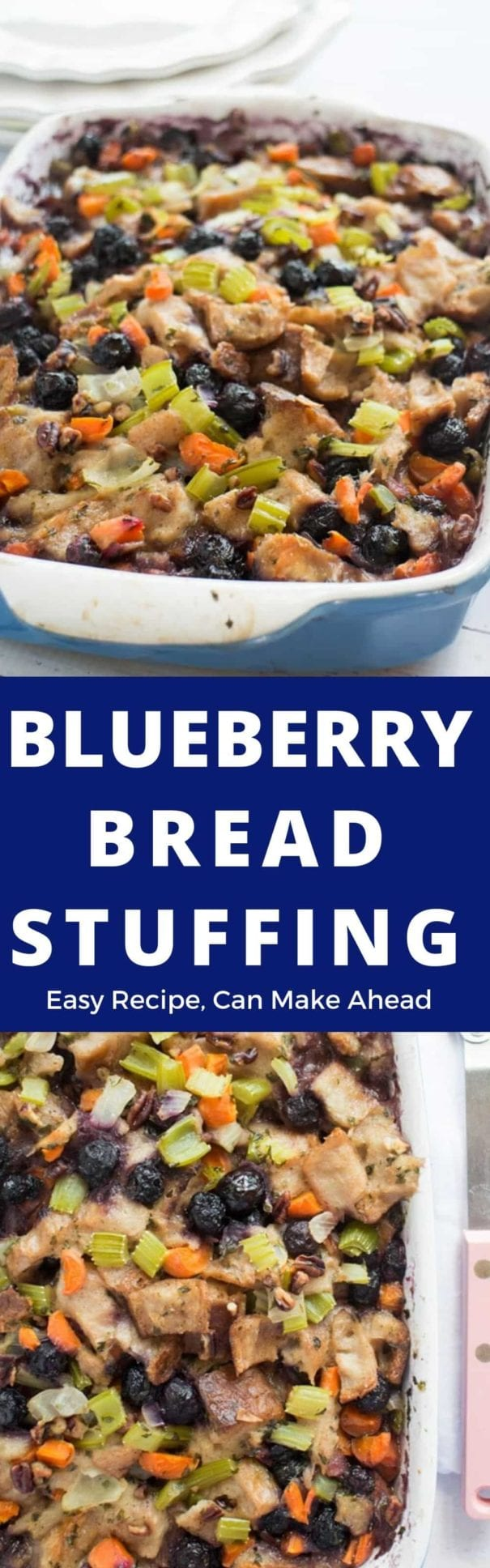 Blueberry Bread Stuffing! Traditional homemade vegetarian bread stuffing with sweet blueberries added in! This comes from a Grandma's vintage cookbook, so you know it's going to be the best! It's easy to make and you can even make it ahead of time to freeze!