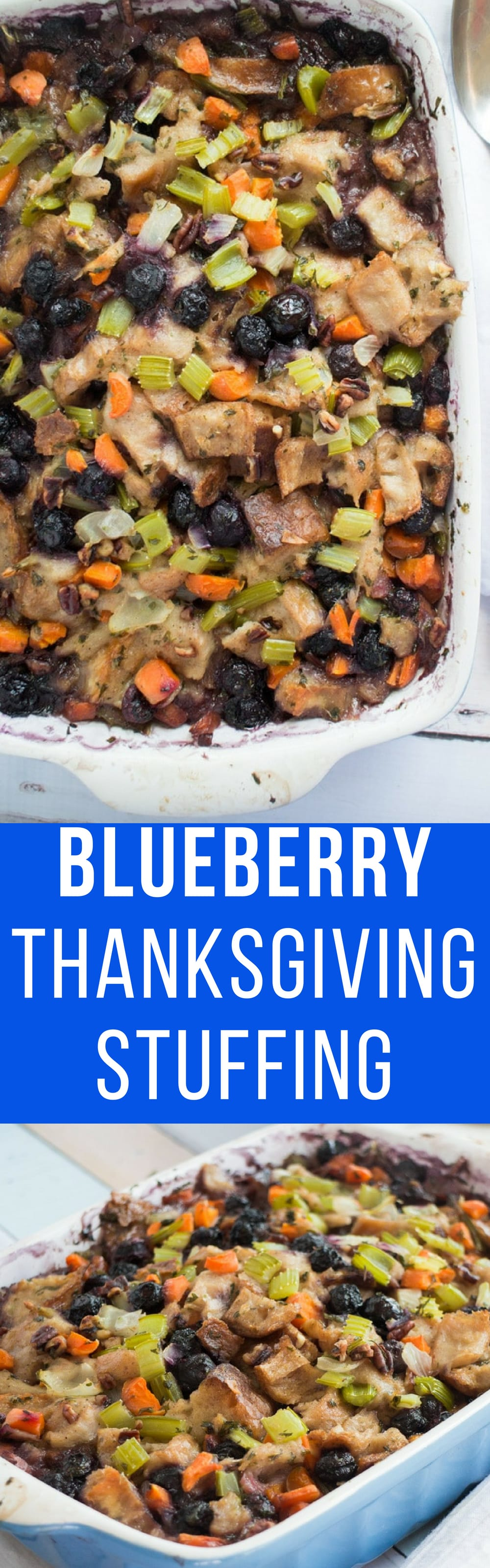 BLUEBERRY Thanksgiving Stuffing recipe! Traditional homemade vegetarian stuffing with sweet blueberries added in! This comes from a Grandma's vintage cookbook so you know it's going to be the best! It's easy to make and you can make it ahead of time to freeze!