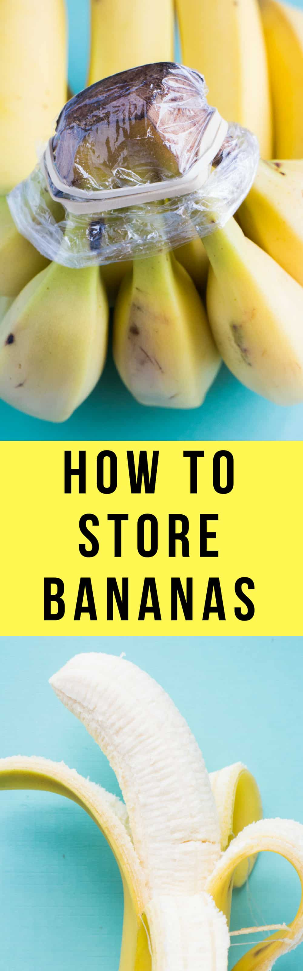 How to Store Bananas!  These easy tips will prevent your bananas from turning brown!  Food storage tricks includes storing with other fruit, plastic wrap, banana trees, in fridge and how to freeze bananas!  Learn the best ways to store bananas and keep them green for longer!