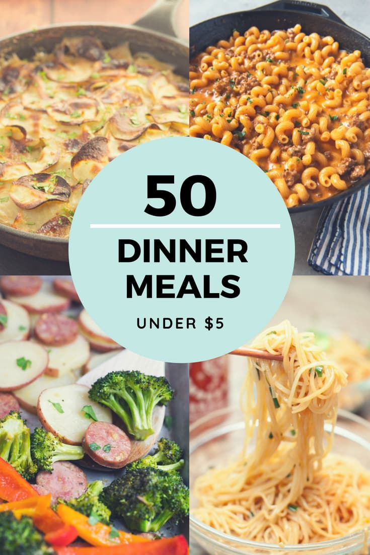 cheap dinner recipes for $5 or less - more than 50 ideas!