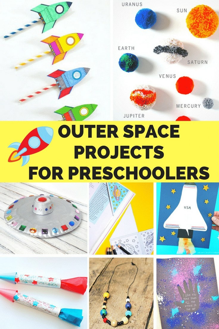 Easy and educational Outer Space Crafts for Preschoolers! These simple projects are sure to keep children of all ages busy while having fun! The collection includes paper rockets, paper plate UFO flying saucers, space shuttle paper crafts, pom pom solar system mobiles and much more!