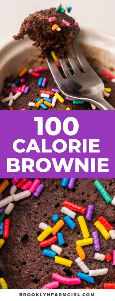 100 CALORIE brownie is a healthy single serving brownie recipe! This easy recipe makes a fudgy chocolate brownie for one in the microwave in 1 minute!  These low calorie brownies are perfect for satisfying a sweet tooth!