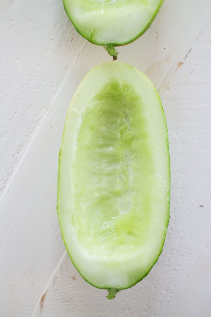 cucumber with seeds removed with spoon