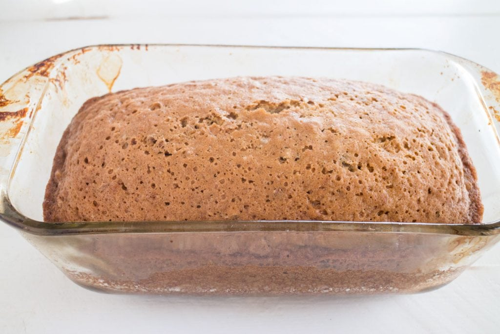 baked cucumber bread in baking dish