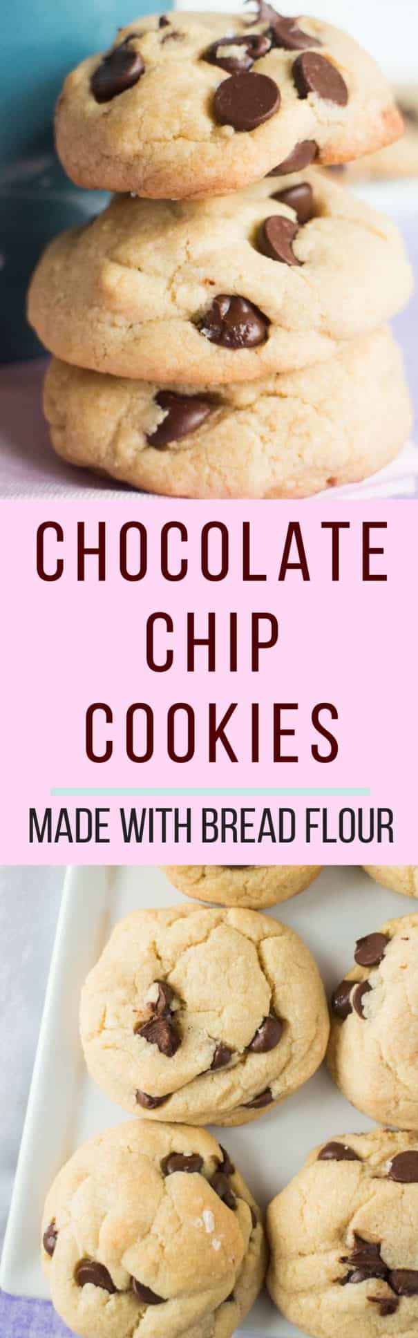 CHEWY Chocolate Chip Cookies Made With Bread Flour! My husband declares this the best chocolate chip cookie recipe!  This easy recipe makes 2 dozen homemade cookies.   Save this recipe - you're going to love it!