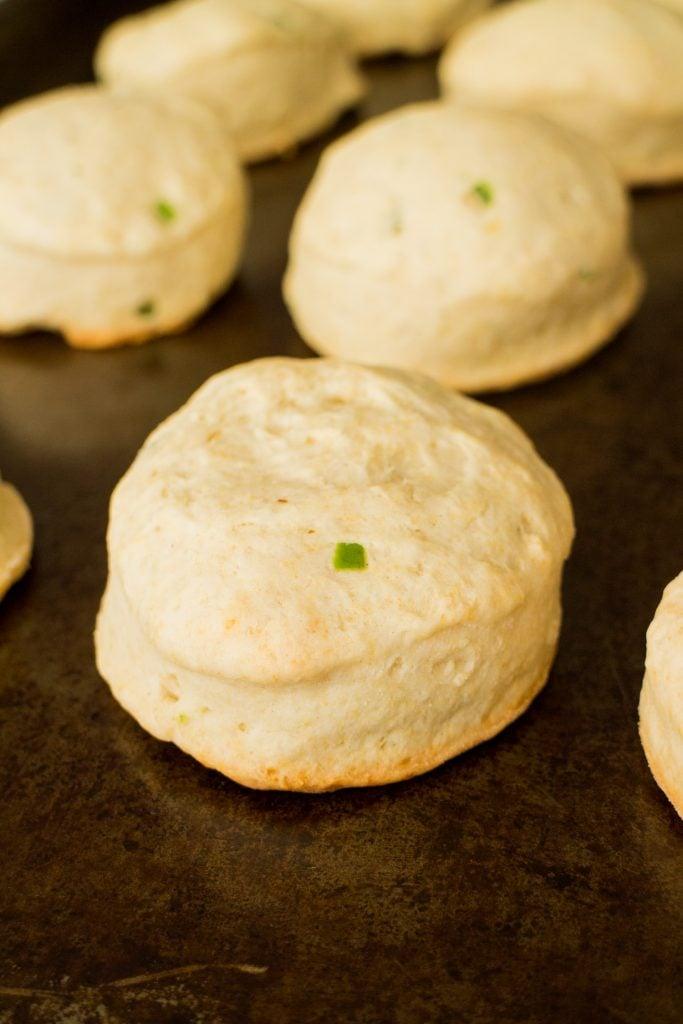 jalapeno biscuits on baking sheet