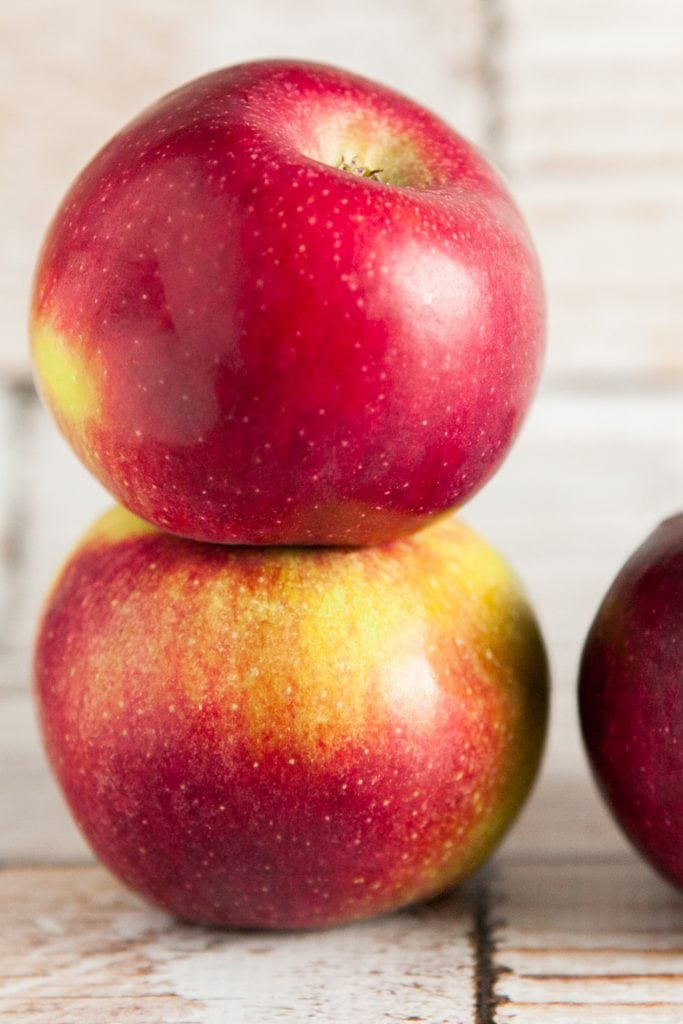 apples stacked on top of each other.