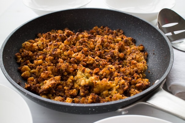 Easy to make Beef Chorizo Stuffing recipe, one of my family's favorite holiday side dishes to serve alongside chicken or turkey. This classic simple stuffing is made with white bread cubes and chorizo. Your entire family is going to be asking you for this recipe!
