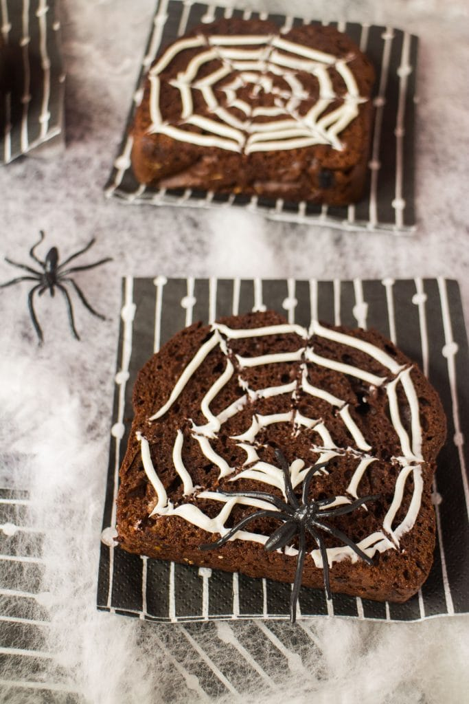 chocolate bread on table decorated for halloween