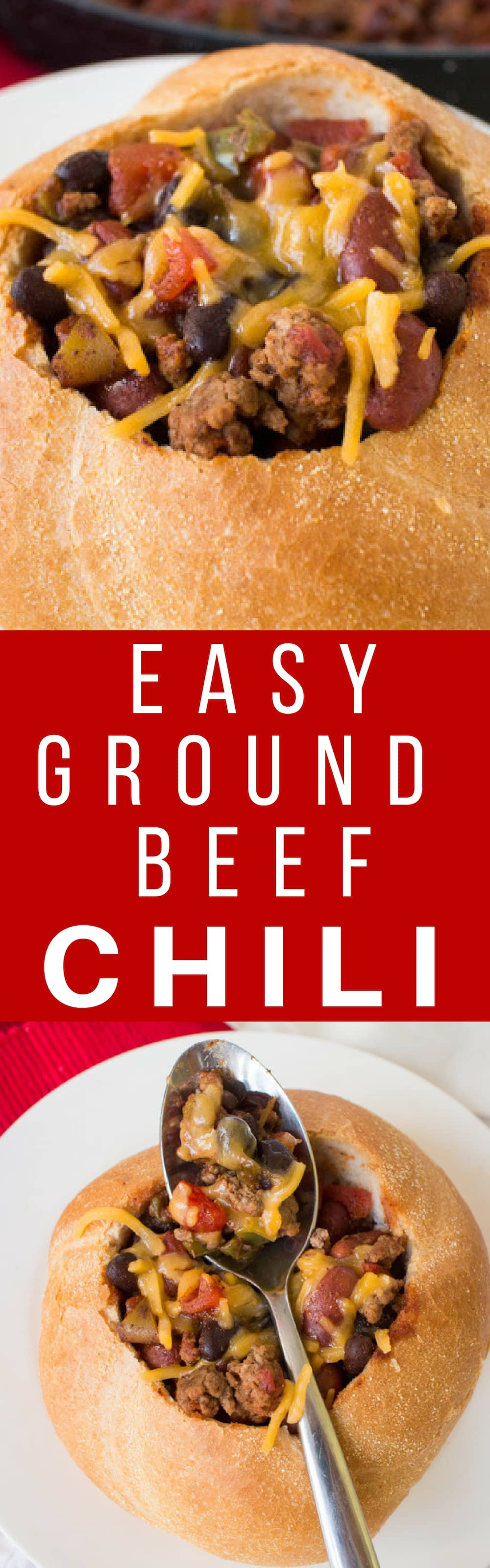 Easy Ground Beef Chili Recipe served inside bread bowls!  This quick dinner is ready in 20 minutes and your family will love it!
