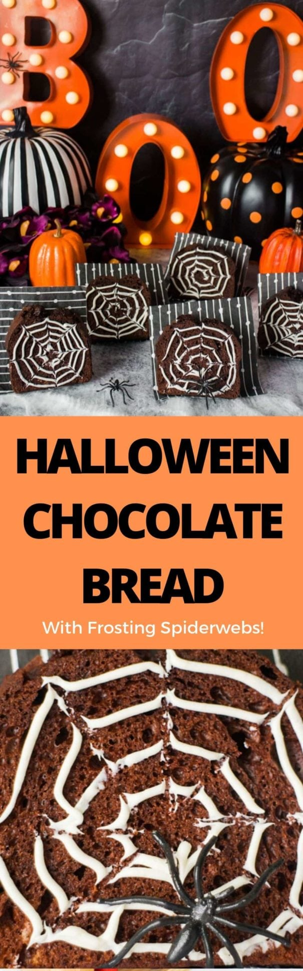 Easy to make Chocolate Bread with frosting spiderwebs on top. This is one of my favorite Halloween dessert recipes, perfect for kids and spooky parties!