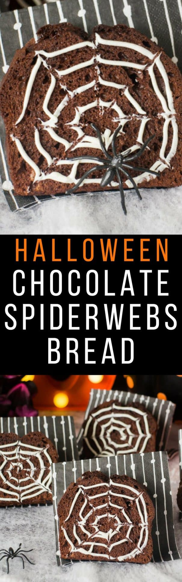 BOO! It's chocolate bread time! That's right, not chocolate cake, but chocolate bread! This chocolate bread recipe is so easy to make and chocolaty and creamy made with Nutella! UM YEAH - NOM NOM NOM! Bake this bread in a loaf pan and then cut into slices to decorate with white frosting spider webs! Save this recipe for Halloween!