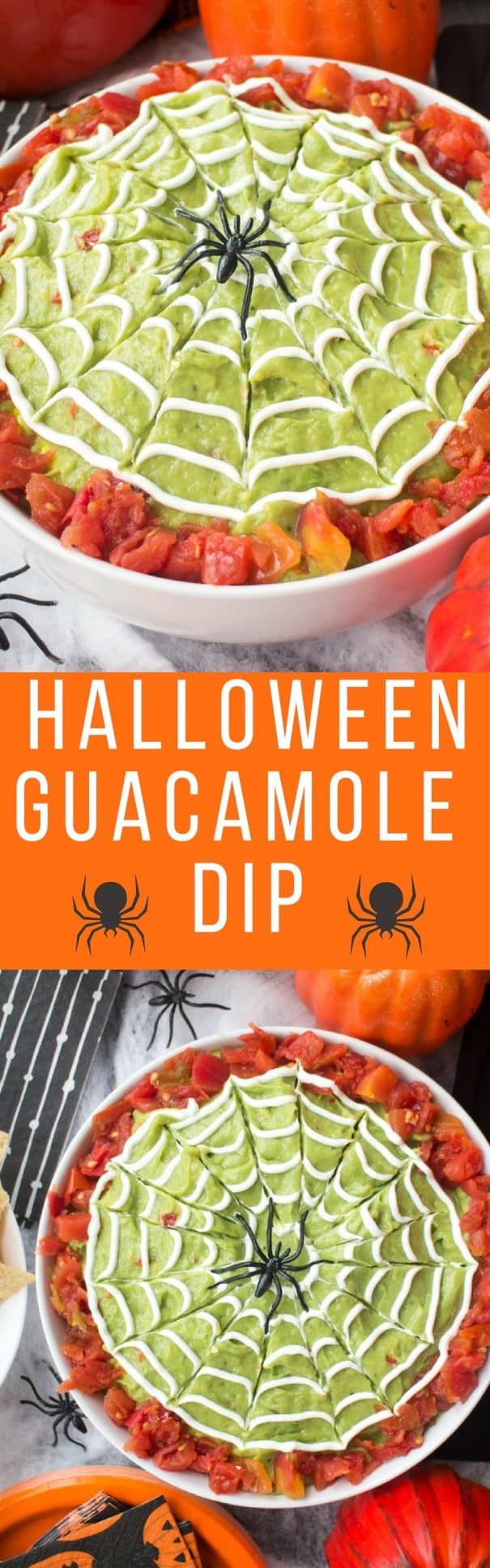 EASY Halloween Guacamole Dip recipe - perfect for healthy Halloween appetizers and party food!  This homemade recipe uses fresh avocados and canned diced tomatoes. Provides DIY tutorial on how to make spiderwebs with sour cream!