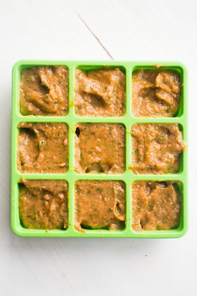 homemade baby food puree in ice cube trays to freeze.