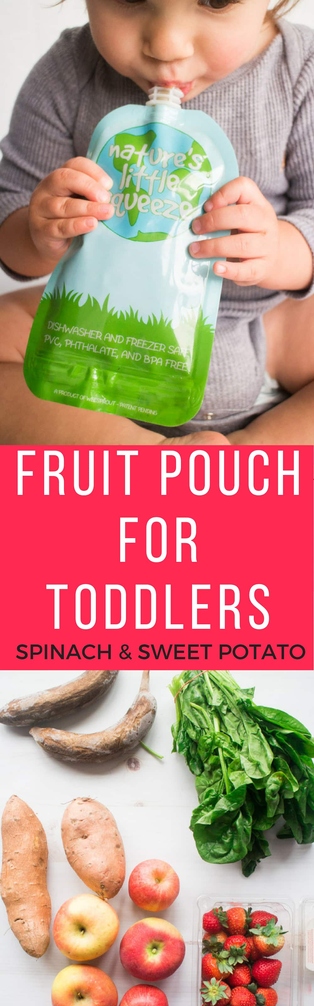 Easy to make fruit puree pouches - perfect for baby and toddler!  My daughter is anemic, so I came up with this Spinach Sweet Potato Fruit Pouch recipe to give her more Iron Rich foods! She loves these!