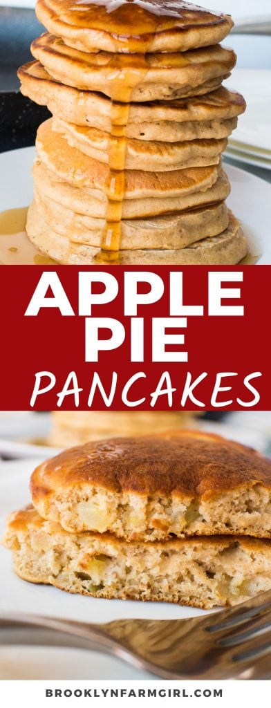 You have to make these Apple Pie Pancakes during apple picking season! Not only are they easy to make, but they always turn out super fluffy, are freezer-friendly, and taste just like apple pie.