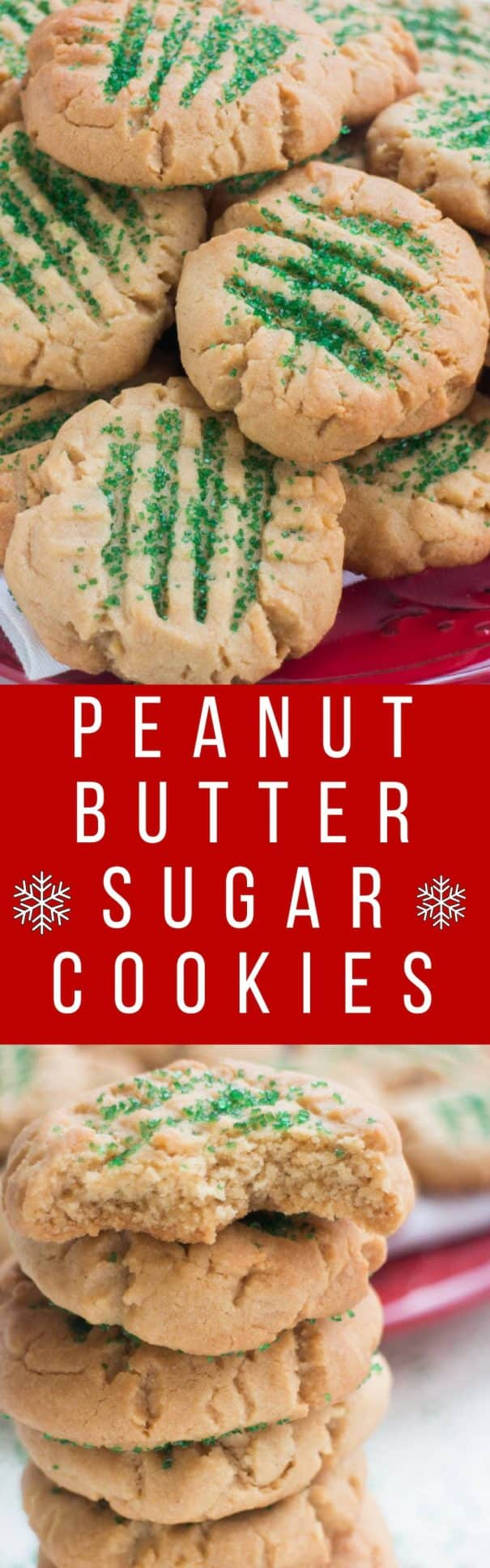 Easy Peanut Butter Christmas Sugar Cookies recipe! This is a homemade cookie recipe, just like Grandma used to make! These cookies are decorated with sugar sprinkles on top! These are the best cookies for families, cookie exchanges and kids!