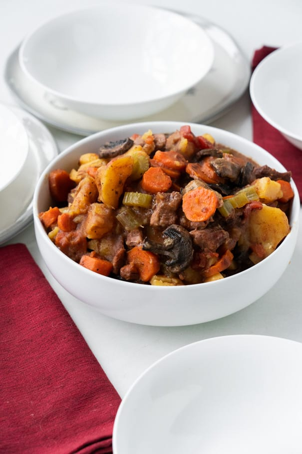 SLOW COOKER Beef Stew with Marsala Cooking Wine made in the crockpot in 6 hours! This easy recipe is packed with vegetables creating a full classic meal. My husband declares this one of the best dinners!