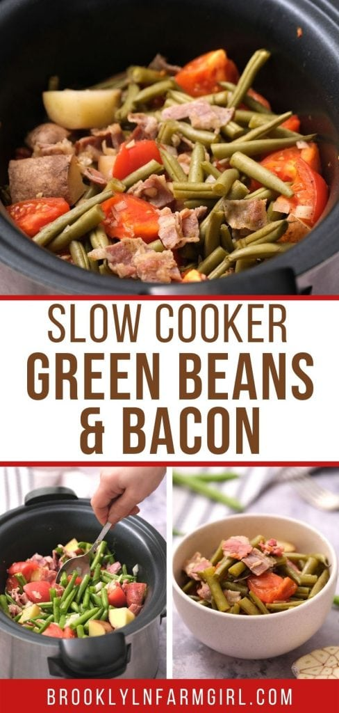 Easy Slow Cooker Green Beans ready in 4 hours.  Green beans, tomatoes and potatoes are slow cooked in broth to make a delicious healthy recipe.