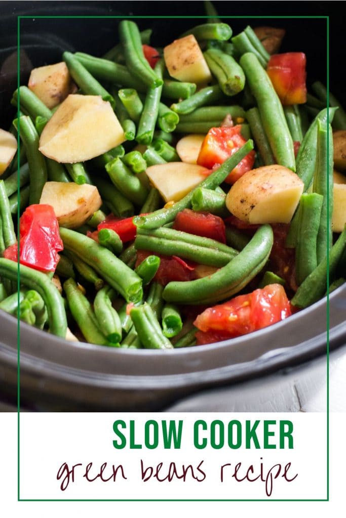 Easy healthy Slow Cooker Green Beans and Tomatoes recipe. Throw fresh green beans, tomatoes, potatoes in the crock pot for 4 hours.   You can serve over rice for a main course or as a side dish to chicken or holiday dinner.