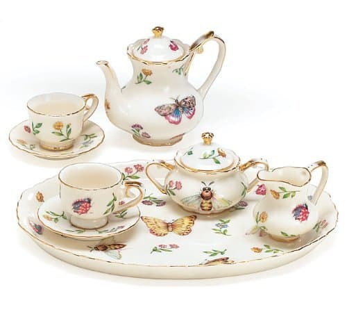 porcelain tea set with butterfly