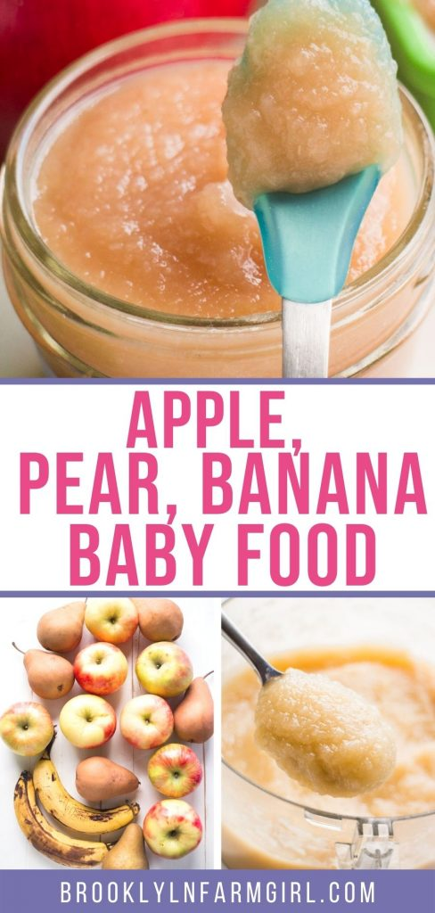 Easy to make apple, pear and banana baby food recipe.    This is my 6 month old's favorite Stage 2 puree!   This homemade recipe made with fresh fruit makes 64 ounces of baby food for only $10!  Includes directions on how to freeze.