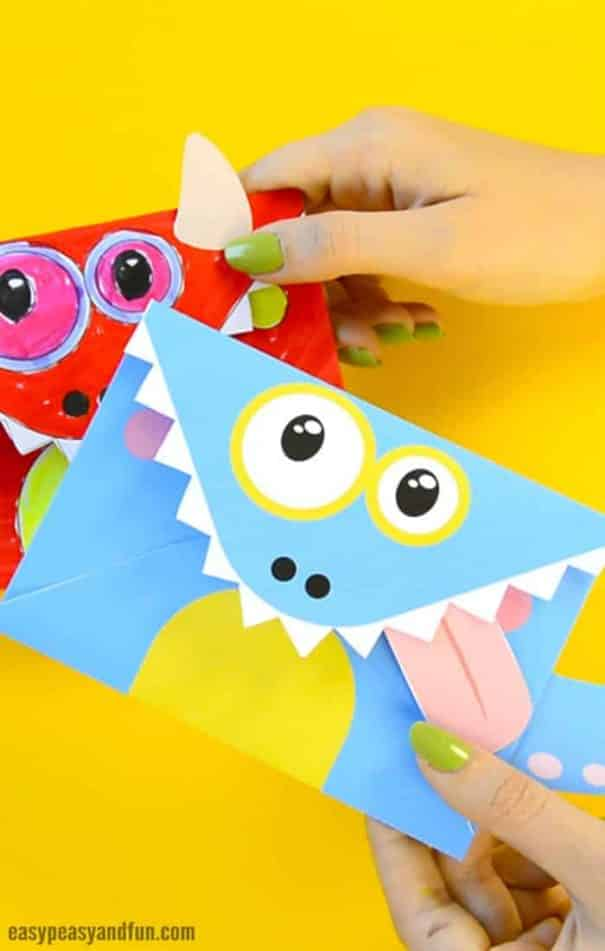 Monster Invitations and Envelopes for a Party Craft